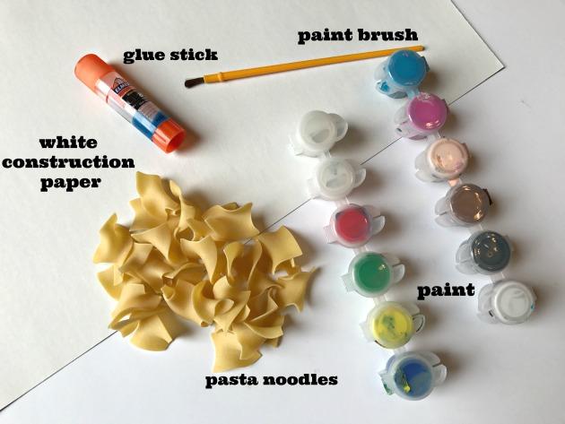 Supplies for Pasta Flower Art Craft for Kids