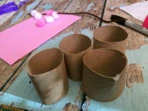 cut toilet paper tubes