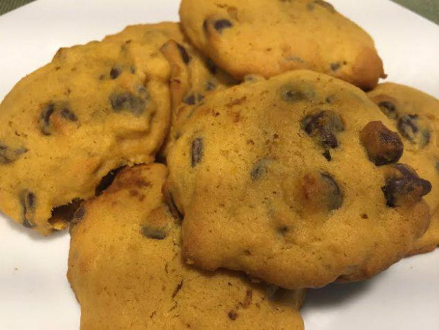 Soft Pumpkin Chocolate Chip Cookies Close Up
