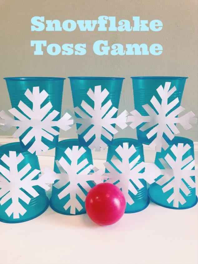 snowflake cup ball toss game