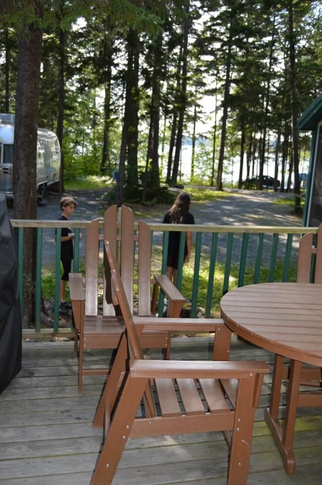 bar harbor koa cabin porch view