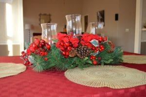 Christmas table decorating