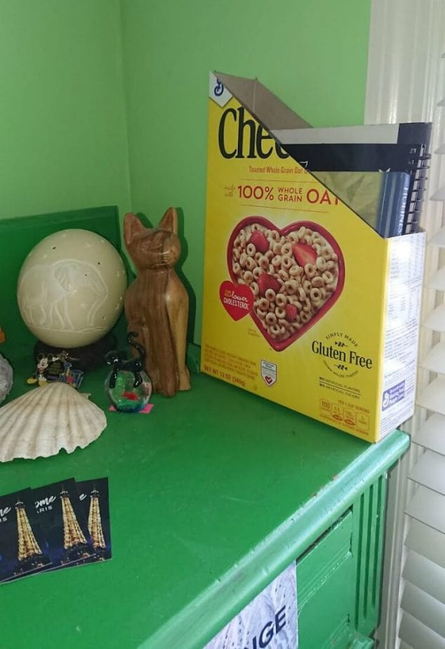 cereal box book holder