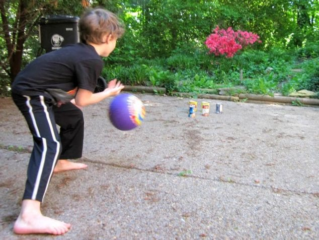 outdoor summer fun for kids- driveway bowling