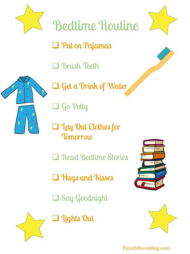 bedtime routine chart for toddlers