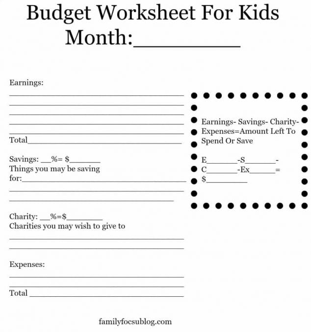 budget worksheet for kids