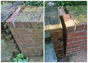 pressure washed bricks