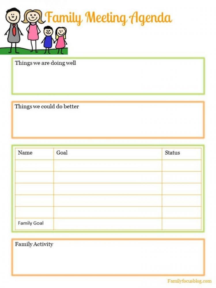 family meeting agenda- free printable