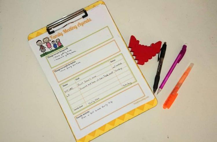 family meeting template - free printable