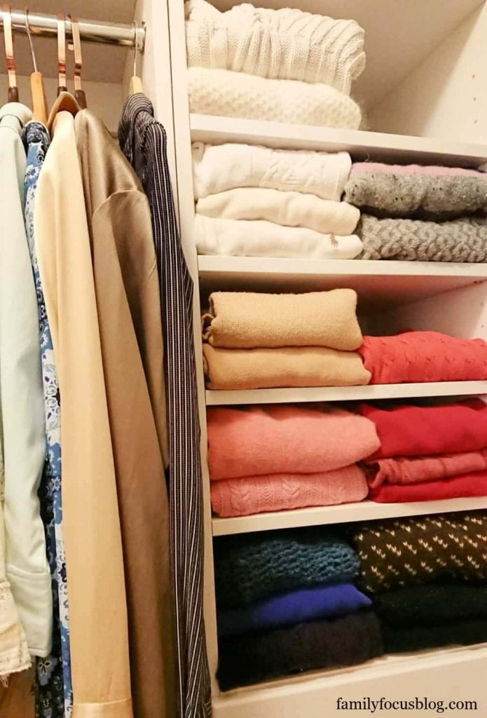 how to store sweaters on shelves